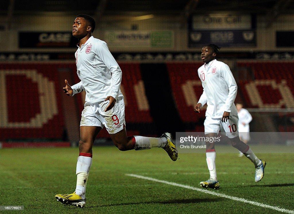 Chuba Akpom of England U19 celebrates scoring the opening goal during the International Match between England U19 and Denmark U19 at Keepmoat Stadium on February 5, 2013 in Doncaster, England.