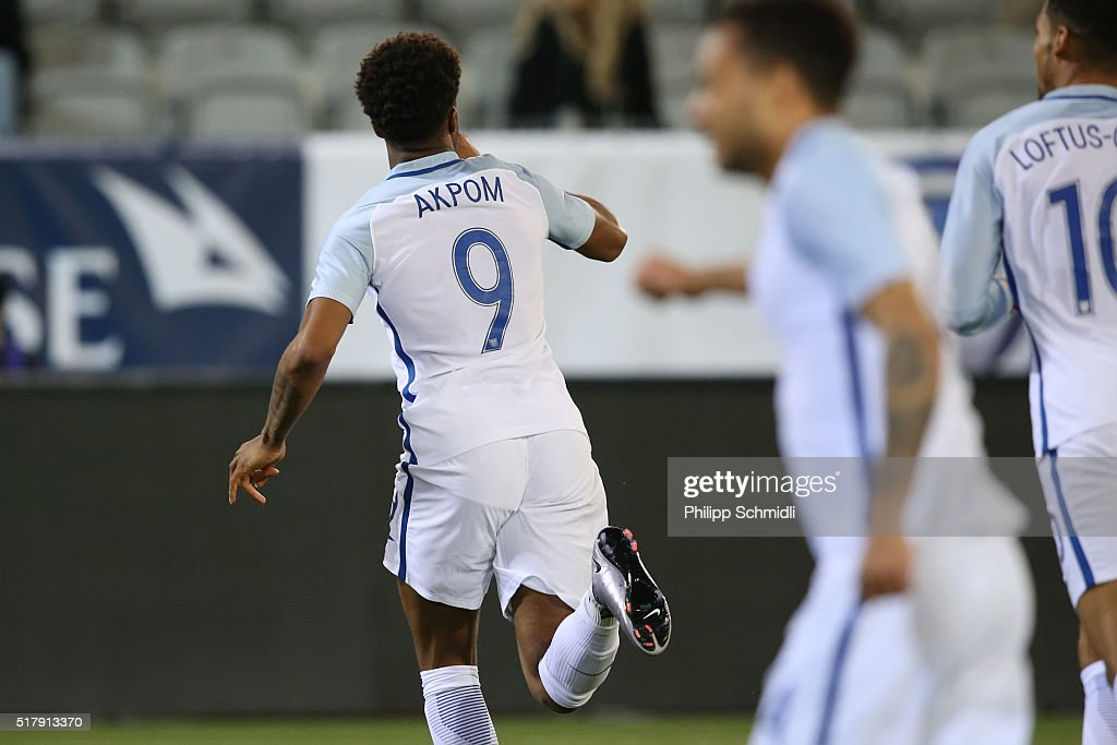 Chuba Akpom of England U21 celebrates after scoring his team's opening goal during the European Under 21 Qualifier match between Switzerland U21 and England U21 at Stockhorn Arena on March 26, 2016 in Thun, Switzerland.