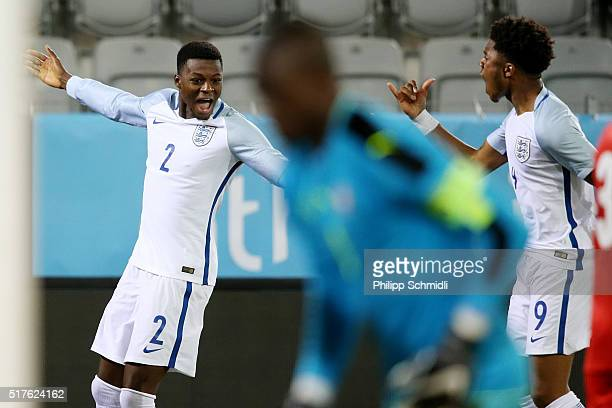 Chuba Akpom of England U21 celebrates with teammate Dominic Iorfa after scoring his team's opening goal during the European Under 21 Qualifier match...