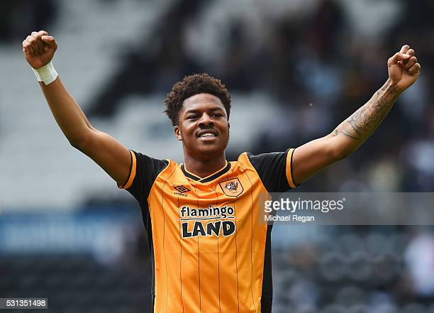 Chuba Akpom of Hull City celebrates victory after the Sky Bet Championship Play Off semi final first leg match between Derby County and Hull City at...