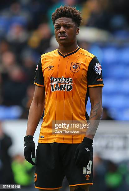 Chuba Akpom of Hull City during the Sky Bet Championship match between Bolton Wanderers and Hull City at the Macron Stadium on April 30 2016 in...
