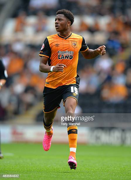 Chuba Akpom of Hull City during the Sky Bet Championship match between Hull City and Huddersfield Town at KC Stadium on August 8 2015 in Hull England