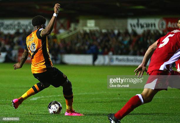 Chuba Akpom of Hull City scores the first goal in extra time during the Capital One Cup First Round match between Accrington Stanley and Hull City at...