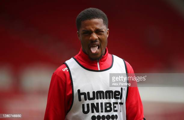 Chuba Akpom of Middlesborough reatcs in the warm up prior to the Sky Bet Championship match between Middlesbrough and Reading at Riverside Stadium on...