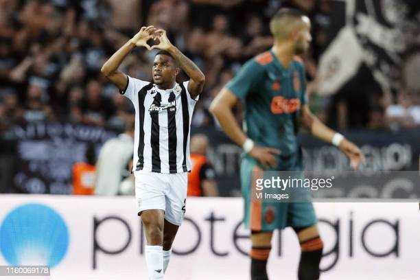 Chuba Akpom of PAOK FC, Hakim Ziyech of Ajax during the UEFA Champions League third round qualifying first leg match between PAOK FC and Ajax...