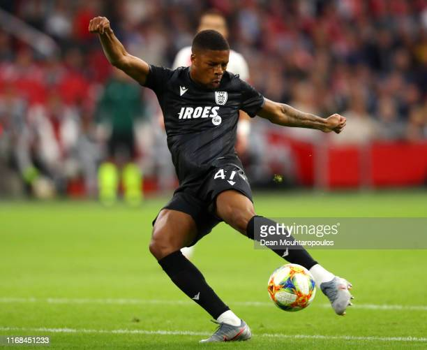 Chuba Akpom of PAOK in action during the UEFA Champions League 3rd Qualifying match between Ajax and PAOK Thessaloniki at Johan Cruyff Arena on...