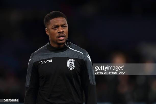 Chuba Akpom of PAOK Thessaloniki during the UEFA Europa League Group L match between Chelsea and PAOK at Stamford Bridge on November 29, 2018 in...