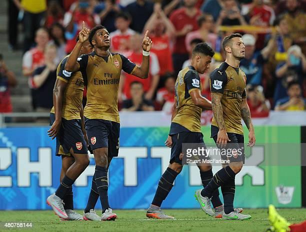 Chuba Akpon celebrates scoring for Arsenal during the match between Arsenal and Singapore XI at the Singapore National Stadium on July 15 2015 in...