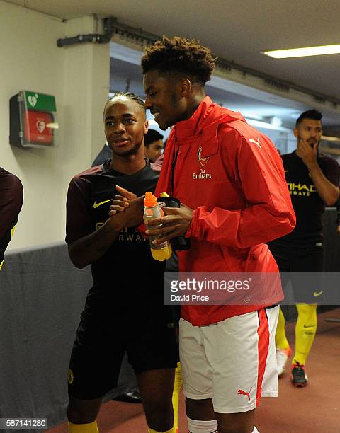 Chuba Akpopm of Arsenal and Raheem Sterling of Man City before the match between Arsenal and Manchester City at Ullevi on August 7 2016 in Gothenburg...