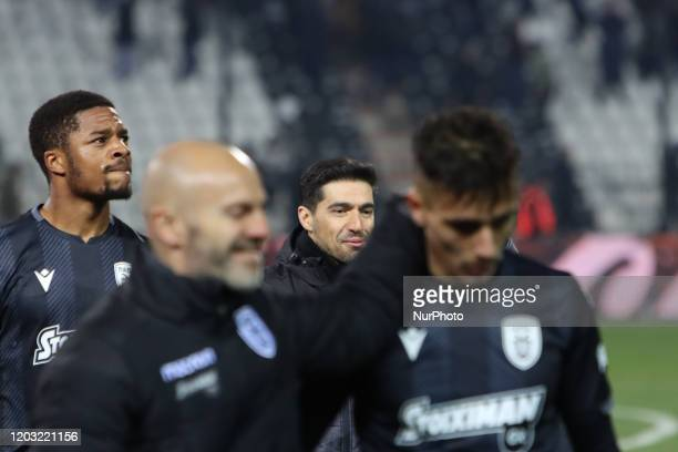 Chuba Amechi Akpom striker of PAOK FC and abel ferreira after the end of the match between PAOK Thessaloniki v OFI Crete FC with final score 40 for...