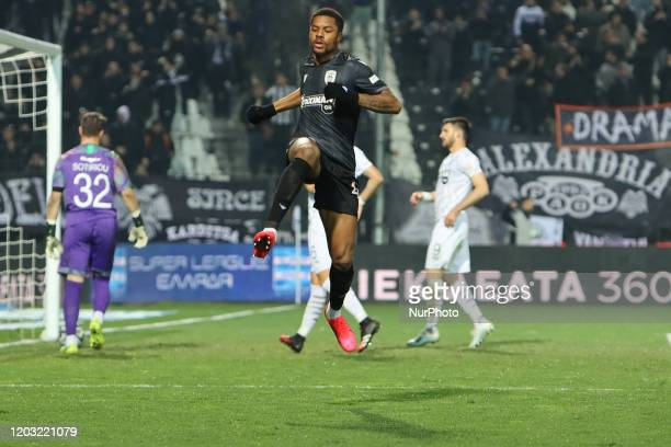 Chuba Amechi Akpom striker of PAOK FC celebrating with his teammates his second goal during PAOK Thessaloniki v OFI Crete FC with final score 4-0 for...