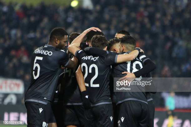 Chuba Amechi Akpom striker of PAOK FC celebrating with his teammates his second goal during PAOK Thessaloniki v OFI Crete FC with final score 40 for...