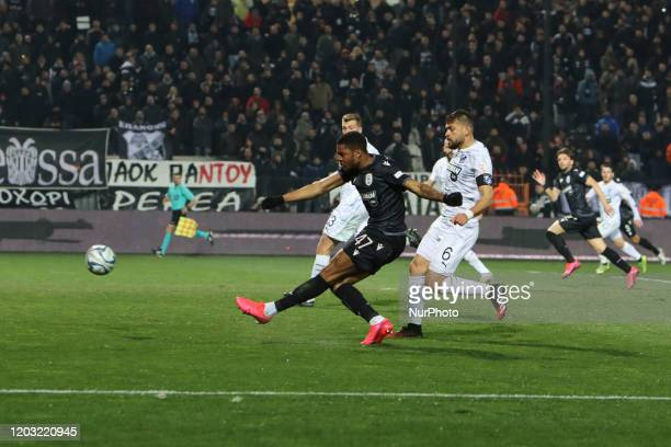 Chuba Amechi Akpom striker of PAOK FC in action during PAOK Thessaloniki v OFI Crete FC with final score 4-0 for Super League 1 Greece at Toumba...