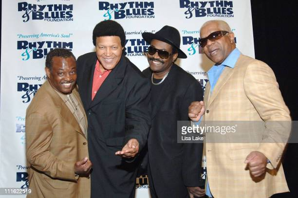 Chubby Checker with Robert 'Kool' Bell Ronald Khalis Bell and Dennis 'DT' Thomas of Kool the Gang at the RB Foundation press conference April 30 2008...