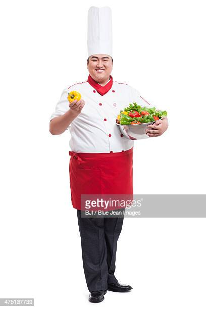 Chubby cook with bell pepper