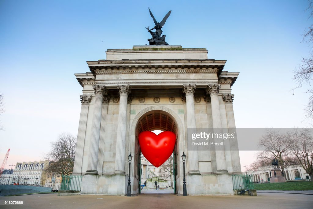 Chubby Hearts Over London is a design project conceived as a love letter to London by Anya Hindmarch in partnership with the Mayor of London, The City of Westminster, British Fashion Council, councils and businesses at Wellington Arch on February 14, 2018 in London, England.