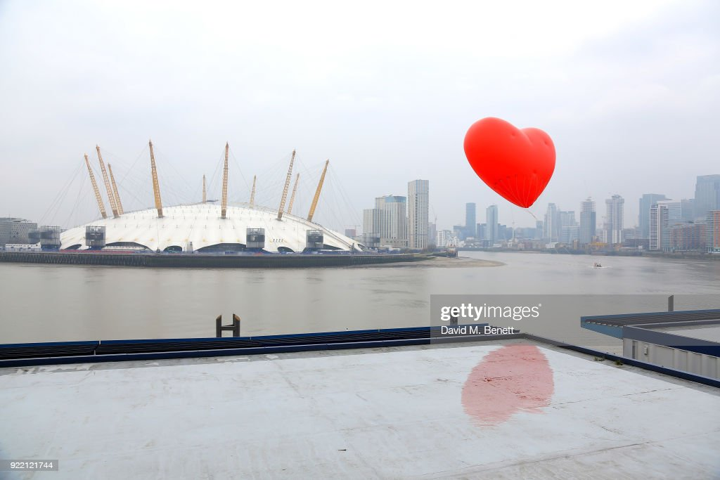 Chubby Hearts Over London is a design project conceived as a love letter to London by Anya Hindmarch in partnership with the Mayor of London, The City of Westminster, British Fashion Council, councils and businesses at Good Luck Hope on February 21, 2018 in London, England.