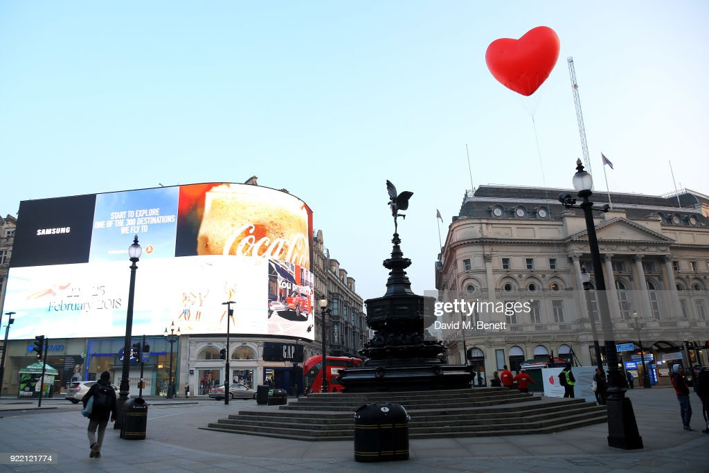 Chubby Hearts Over London is a design project conceived as a love letter to London by Anya Hindmarch in partnership with the Mayor of London, The City of Westminster, British Fashion Council, councils and businesses at Piccadilly Circus on February 21, 2018 in London, England.