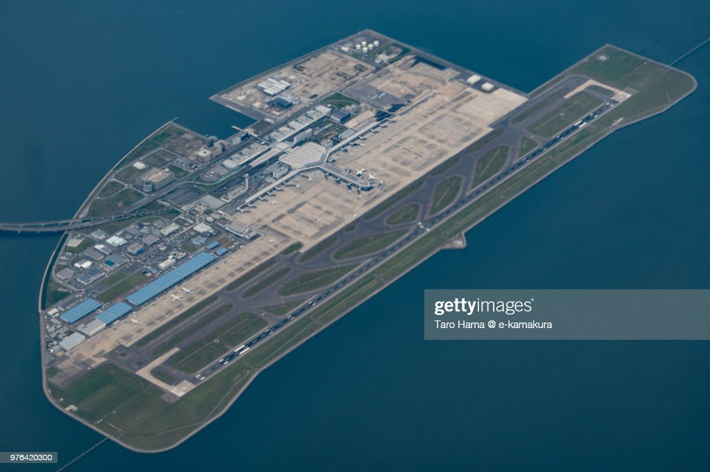 Chubu Centrair International Airport daytime aerial view from airplane : Foto stock