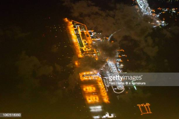 Chubu Centrair International Airport in Japan night time aerial view from airplane