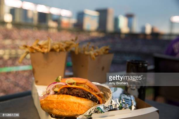DENVER CO CHUBurgers and fries from CHUBurger a look at ballpark food at the Rockies' Coors field on July 3 2017 in Denver Colorado