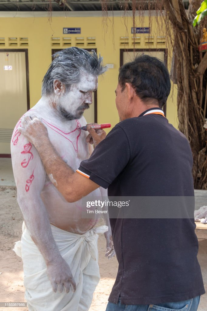 Chuchok getting ready for Boon Pha Wet festival parade. : Stock Photo