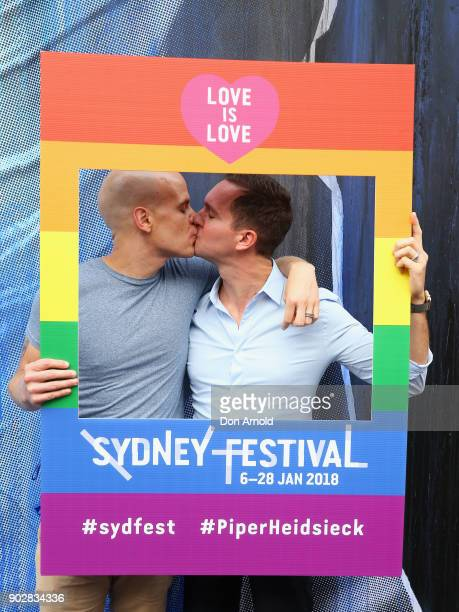 Chuck Anderson and Eric Emerick a married couple from the United States pose as part of a Sydney Festival event to celebrate the first day samesex...