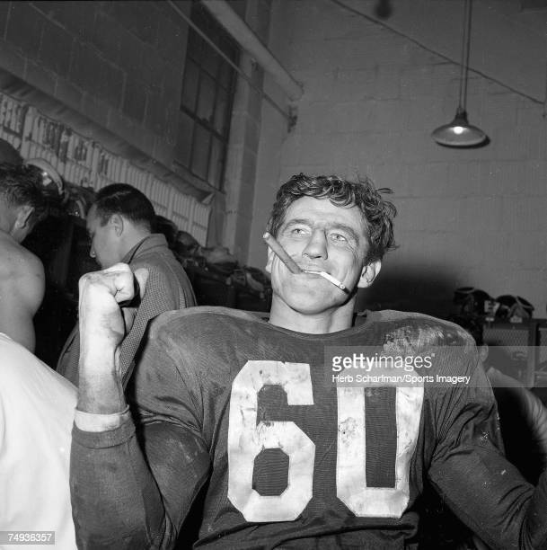 Chuck Bednarik celebrates after defeating the Green Bay Packers in the NFC Championship Game in Franklin Field on Decmeber 26 1960 in Philadelphia...