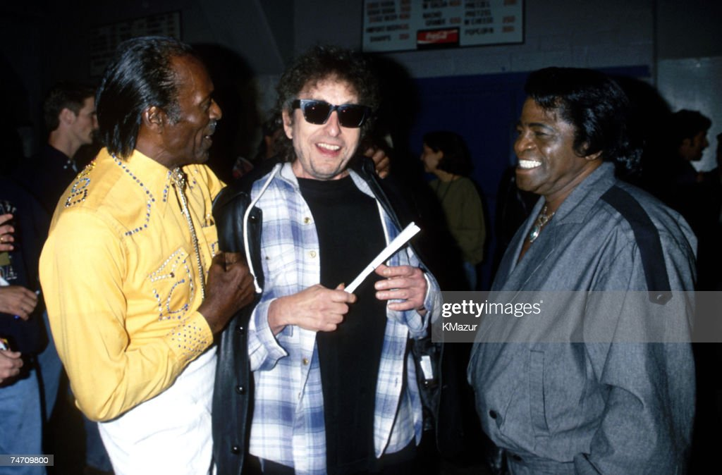 Chuck Berry, Bob Dylan and James Brown during Bob Dylan File Photos at the New York in New York City, New York.