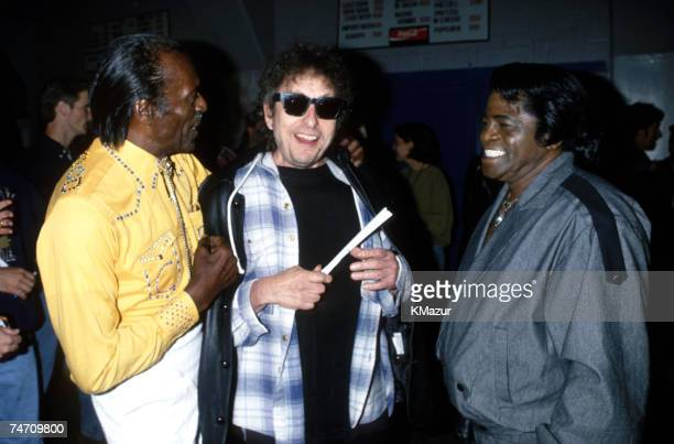 Chuck Berry Bob Dylan and James Brown during Bob Dylan File Photos at the New York in New York City New York