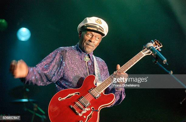 Chuck Berry, guitar and vocals, performs on July 13th 2000 at the Statenhal in the Hague, Netherlands.