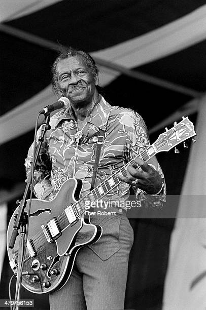 Chuck Berry performing at the New Orleans Jazz and Heritage Festival in New Orleans, Louisiana on April 30, 1995.