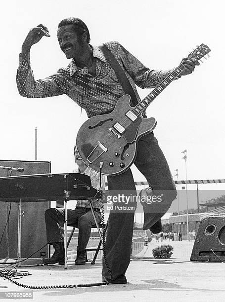 Chuck Berry performs at Golden Gate Fields race track in July 1977 in Berkeley, California.