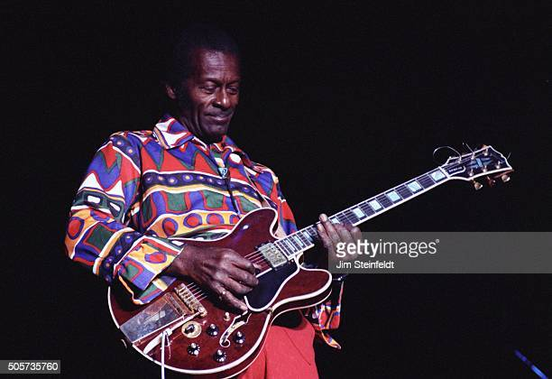 Chuck Berry performs at Riverfest in St Paul Minnesota on August 4 1990 Photo by Jim Steinfeldt/Michael Ochs Archives/Getty Images