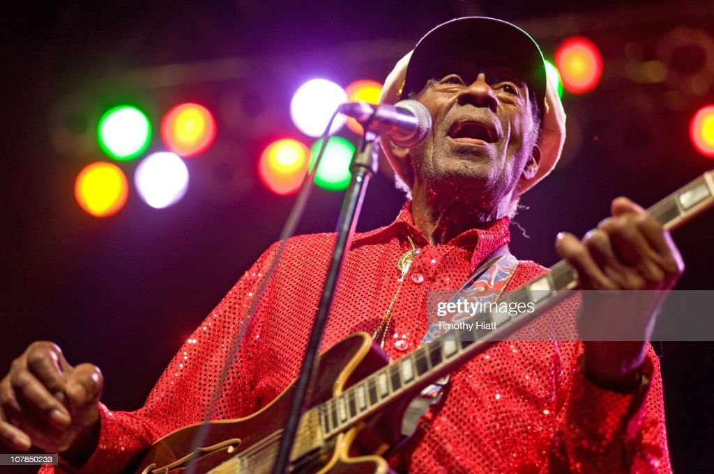 Chuck Berry performs at the Congress Theater on January 1, 2011 in Chicago, Illinois.