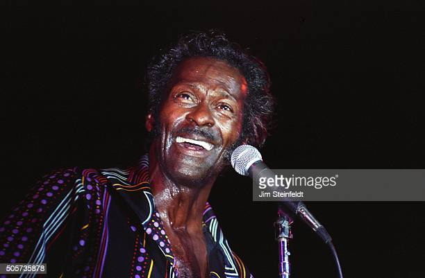 Chuck Berry performs at The Hubert H Humphrey Metrodome in Minneapolis Minnesota on July 1 1984 Photo by Jim Steinfeldt/Michael Ochs Archives/Getty...