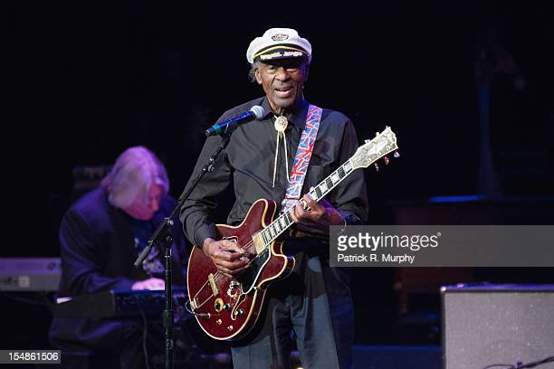 Chuck Berry performs during the Chuck Berry Tribute Concert at the State Theatre on October 27 2012 in Cleveland Ohio