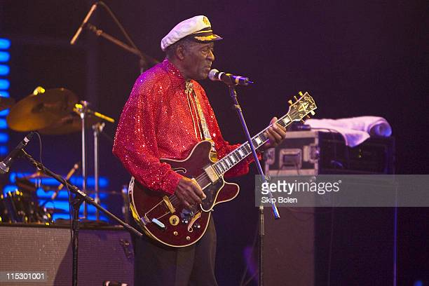 Chuck Berry performs during the Domino Effect benefit concert at the New Orleans Arena on May 30 2009 in New Orleans Louisiana