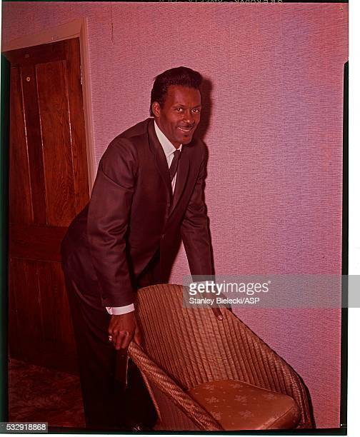 Chuck Berry poses in a hotel room in London circa 1964