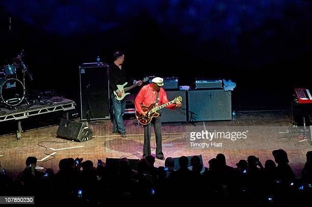 Chuck Berry returns to the stage after collapsing at the Congress Theater on January 1 2011 in Chicago Illinois