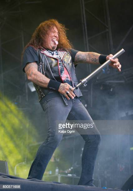 Chuck Billy of Testament performing live on stage on day 1 at Bloodstock Festival at Catton Hall on August 11 2017 in Burton Upon Trent England