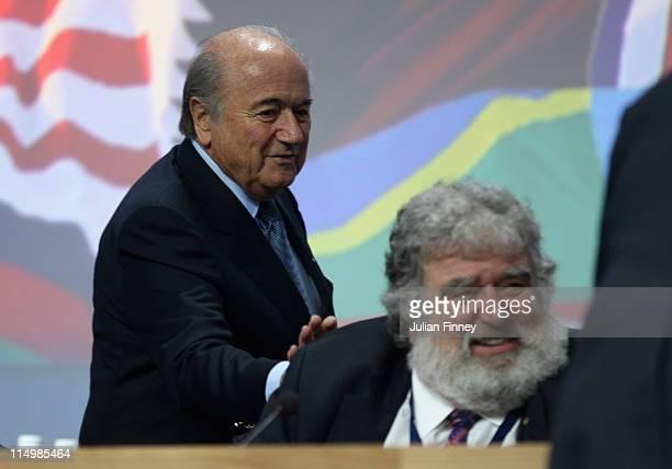 Chuck Blazer FIFA member and Presedent of FIFA Joseph SBlatter during the 61st FIFA Congress at Hallenstadion on June 1 2011 in Zurich Switzerland