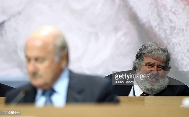 Chuck Blazer FIFA member is seen behind Presedent of FIFA Joseph SBlatter during the 61st FIFA Congress at Hallenstadion on June 1 2011 in Zurich...