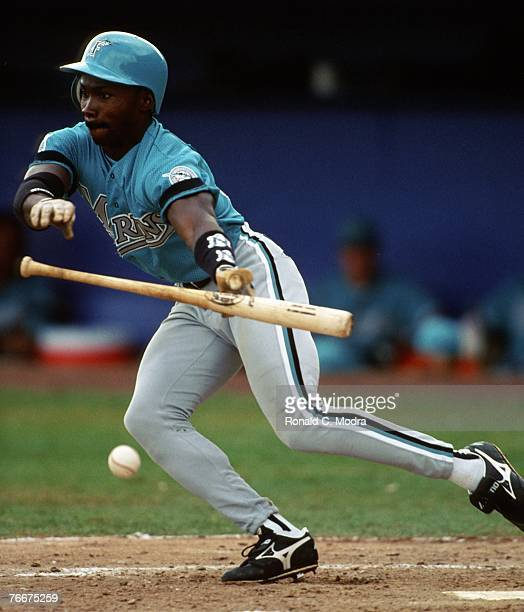 Chuck Carr of the Florida Marlins battingduring spring training in March 1993 in Port St Lucie Florida