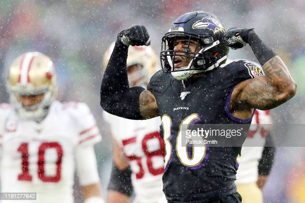 Chuck Clark of the Baltimore Ravens celebrates during the first half against the San Francisco 49ers at M&T Bank Stadium on December 01, 2019 in...