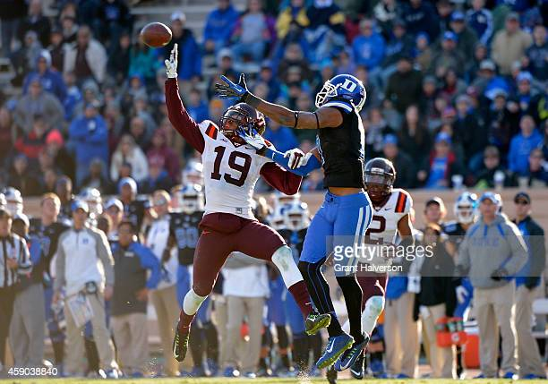 Chuck Clark of the Virginia Tech Hokies breaks up a pass intended for Issac Blakeney of the Duke Blue Devils during their game at Wallace Wade...