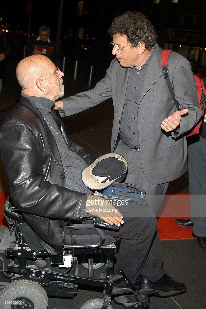 Chuck Close and Philip Glass during The ACLU Freedom Concert - After Party Arrivals - October 4, 2004 at Mandarin Orient in New York City, New York, United States.