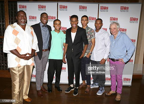 Chuck Cooper, Grantham Coleman, Nicholas L. Ashe, Jeremy Pope, Kyle Beltran, Wallace Smith and Austin Pendleton attend the opening night party for...