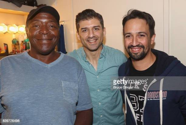 Chuck Cooper Tony Yazbeck and Lin Manuel Miranda pose backstage at the hit new musical 'Prince of Broadway' on Broadway at Manhattan Theatre Club's...