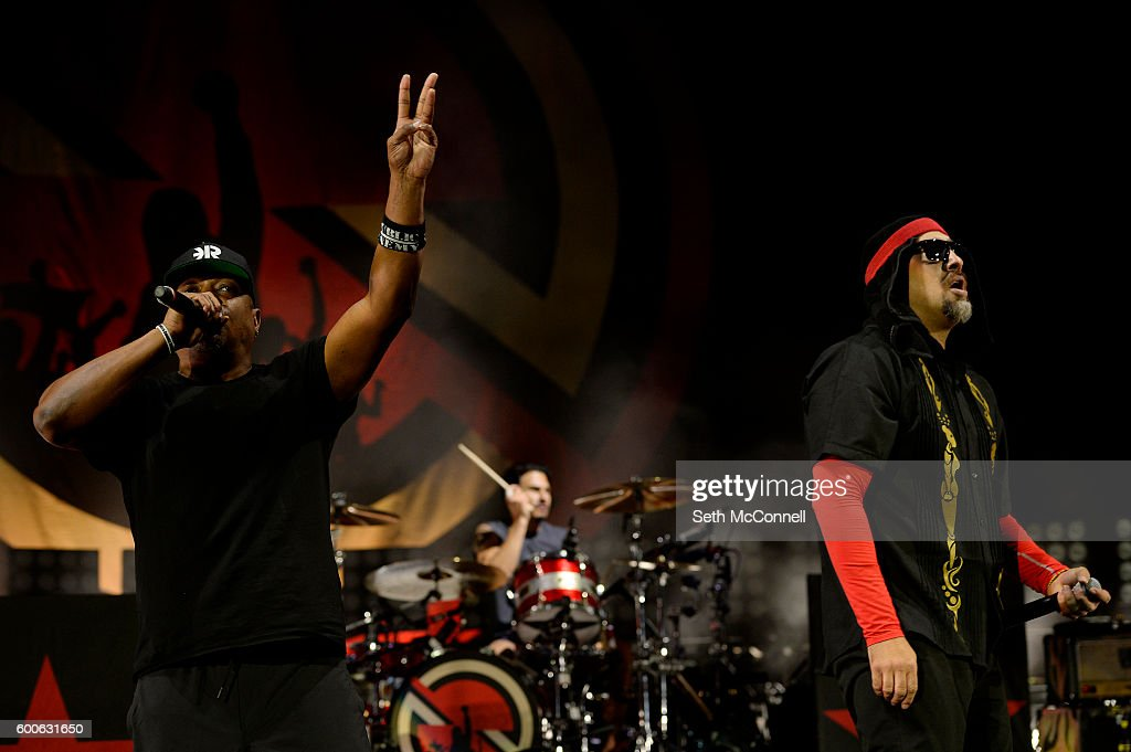 Chuck D and B-Real of Prophets of Rage perform at Red Rocks Amphitheatre in Morrison, Colorado on September 7, 2016.